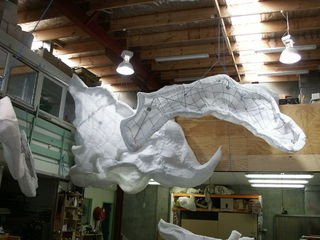 Clouds suspended in the workshop.